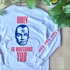 OBEY Long Sleeve Graphic Tee T-Shirt White M